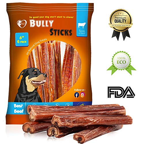 Beloved Pets Thick Bully Sticks for Dogs & Puppies 6 and 12 Inch - Best Beef Pizzle Made for USA - Supreme Chew Large Bully Sticks Odorless (6 Pack)
