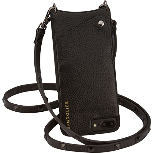 Bandolier [Sarah] Crossbody Phone Case and Wallet - Compatible with iPhone 8 Plus, 7 Plus, 6 Plus, 6s Plus - Black Leather with Pewter Accent