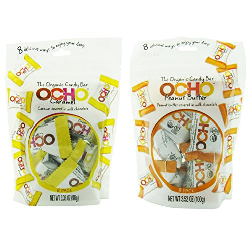 OCHO Organic 3.38 Oz Chocolate Candy Mixed 2 Packs (8 Pieces in Each Pack) - Peanut Butter & Caramel Covered in Milk Chocolate (Ocho Chocolate)