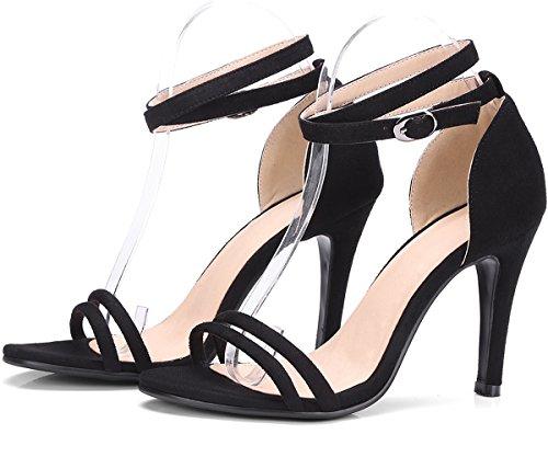 Boda Sandalias Mujer de BIGTREE Peep Toe Correa de tobillo Stiletto Hebilla ajustable Vestir Sandalias Negro