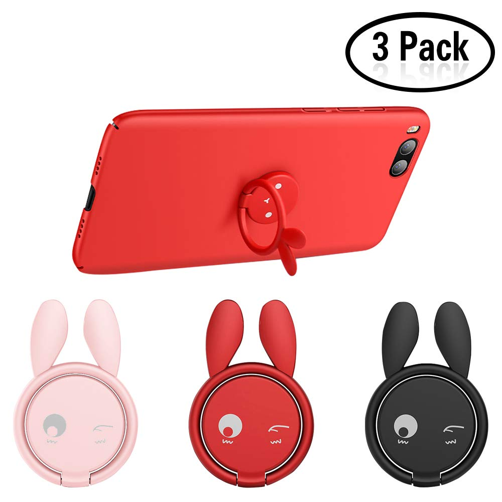 Lapin mignon 3PCS té lé phone portable girp support de bague support de rotation de té lé phone portable doigt boucle boucle grip support de voiture magné tique support tableau de bord support Yojoloin