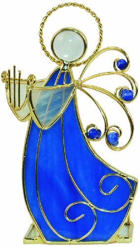 CMC Stained Glass Votive Holder Angel With Lyre