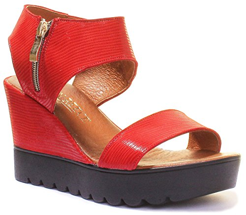 Justin Reece 7640 - Sandalias de Vestir de Piel Para Mujer Red