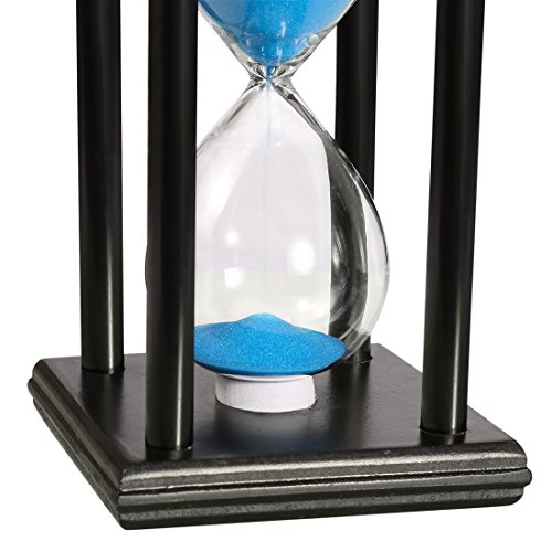 BOJIN 20 Minute Hourglass Sand Timer Wooden Black Stand Hourglass Clock for Office Kitchen Decor Home - Blue Sand by BOJIN (Image #1)