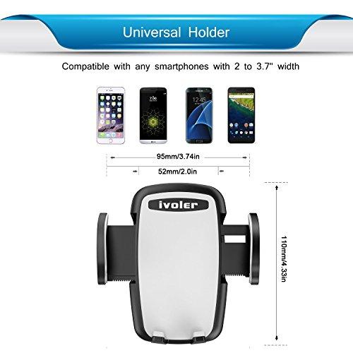 iVoler® Porta Cellulare Auto, Universale Supporto Auto Smartphone Car Mount per Cruscotto & Parabrezza con Ventosa **Forte Sticky** 360 Gradi di Rotazione per iPhone 7 Plus/6S/6s Plus/6/6 Plus/5S/5C/S