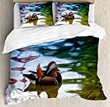 Ambesonne Africa Duvet Cover Set King Size, Chinese Mandarin Ducks Sail in the River East Asian Winged Creature Peace Habitat, Decorative 3 Piece Bedding Set with 2 Pillow Shams, Multicolor