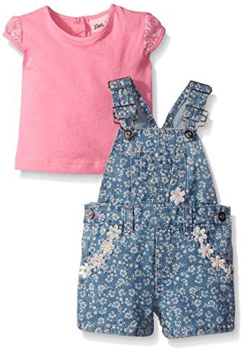 2 Piece Short Set Denim (Little Lass Baby Girls' 2 Piece Shortall Set Discharge Print, Pink, 24)