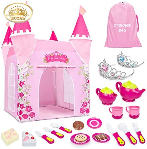 Mitcien Princess Castle Play Tent for Girls Large Playhouse Play TentRoyal Tea Party Toy for Little Girls Indoor and Outdoor Pretend Role-Play Game