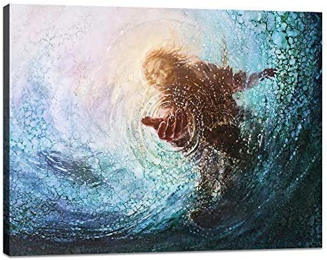 Modern Jesus Picture Framed Religious Belief Canvas Wall Art Jesus Reaching Into Water Christian Painting Artwork Religion Posters and Print