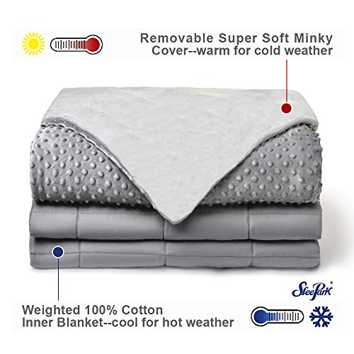Cheap SLEEPARK Weighted Blanket&Removable Minky Cover|Therapeutic Portable Weighted Blanket and Duvet|Premium Glass Beads|15lbs for Adults 48