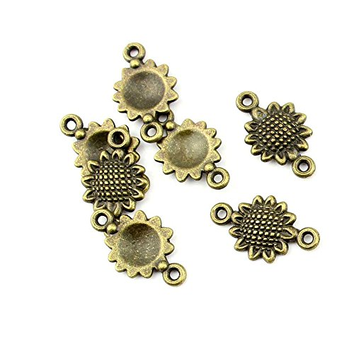 (20 Pieces jewelry making charms H81687 Sunflower Connector Findings Supplies Wholesale Ancient Fashion Bulk)