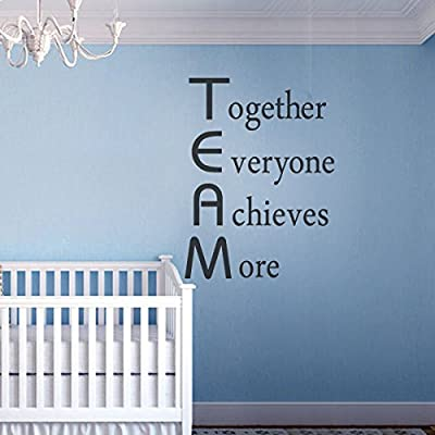 Team Building Wall Decal Inspirational Wall Quote Vinyl Wall Sticker Wall Words Wall Graphic Wall Mural Home Art Decor Together Everyone Achieves More