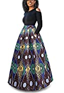 VLUNT Women's African Floral Print A Line Long Skirt Pockets Two Pieces Maxi Dress