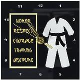 3dRose dc_180798_1 Karate Karategi Uniform Black Belt Honor Respect Courage Train Discipline-Desk Clock, 6 by 6-Inch For Sale