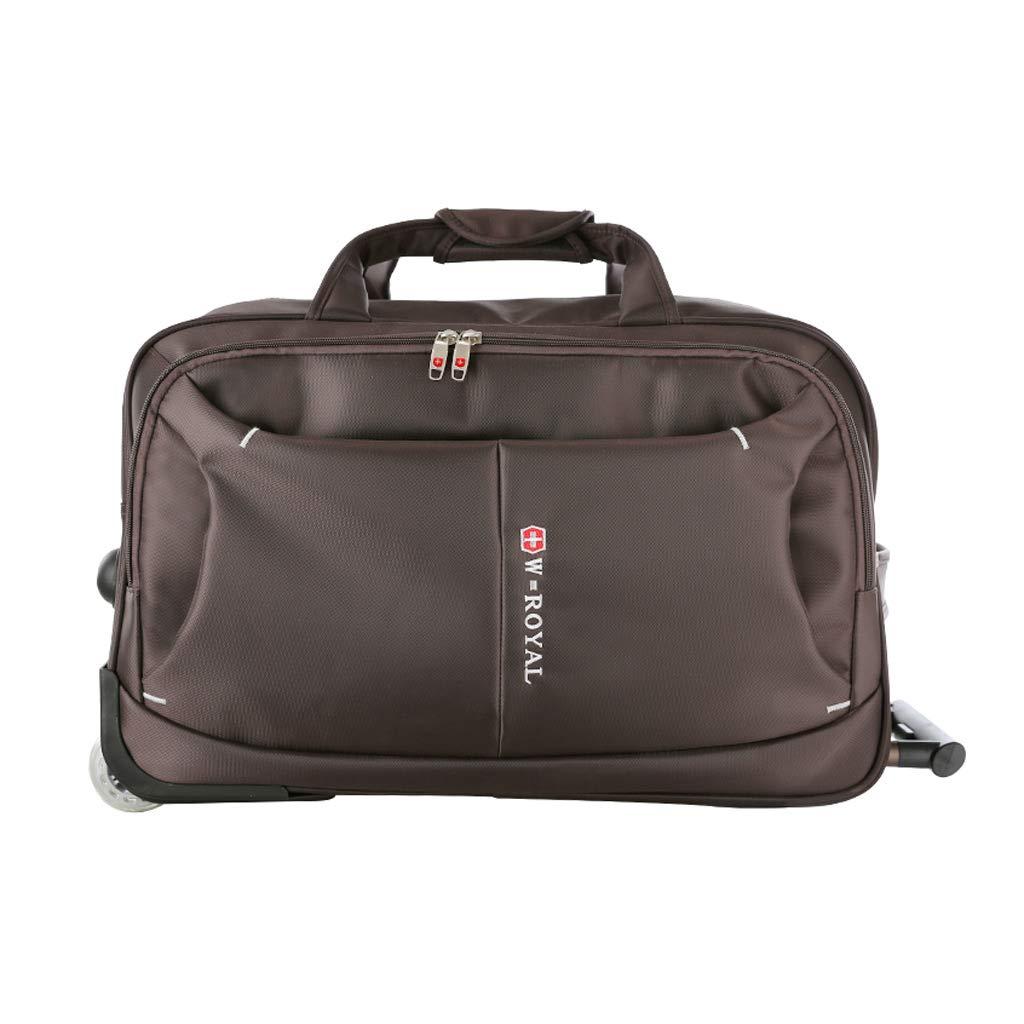 トロリー旅行バッグ、女性の大容量折りたたみ式手荷物バッグ搭乗バッグ、防水オックスフォード布旅行バッグ (色 : Brown)  Brown B07NP4QHHF