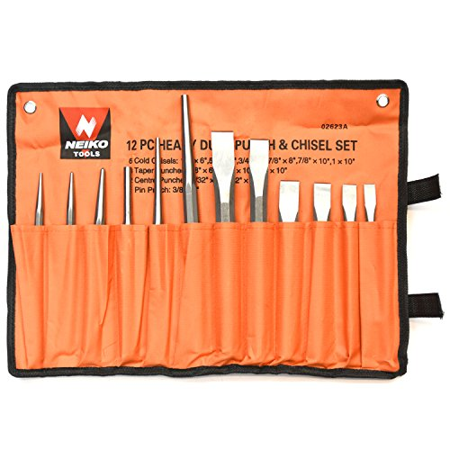 Neiko 02623A Heavy Duty Cold Chisel and Punch Set, 12 Piece, Carrying Pouch Included (Chisel Punch Set)