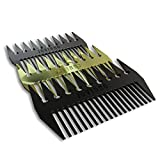 Jovinno Hair Styling Metal Hair & Beard Comb Premium Quality Luxury Dual-Sided Wide + Fine Tooth Designed To Promote A Unique Hair Contour ... (Silver Grey Metal)