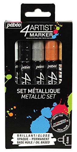 (Pebeo 4Artist Marker, Oil Paint Markers, Metallic Set of 5 x 4 mm)