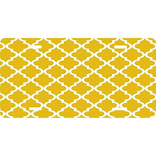 Mustard Yellow Moroccan Pattern Novelty Front License Plate Decorative Vanity Aluminum Auto Car Tag 12 x 6 Inch ()