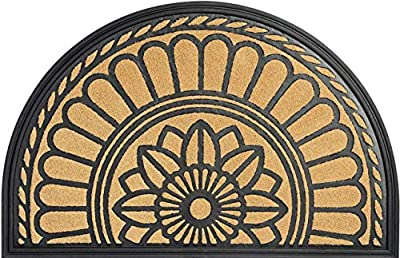 Mibao Half Round Entrance Door Mat, 24 x 36 inch Large Non-Slip Welcome Front Outdoor Rug, Doormat for Entry, Patio