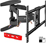 ONKRON TV Wall Mount Bracket Full Motion Dual Articulating Arm for most 40 to 70-inch LED OLED LCD Flat Screens up to 100 lbs with Tilt Swivel Rotation Black M6L