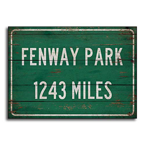 Adonis554Dan Personalized highwayroad Distance Sign to Fenway Park Home of The Boston Red Sox Print on Wooden Sign Decor Wall Decor -