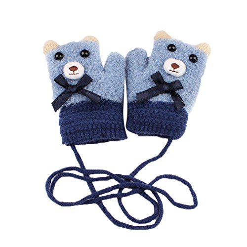 Fheaven Warm Halter Gloves Boy Girl Cartoon Bear Winter Knitted Gloves Mittens for 4-9 Years Baby (Blue)