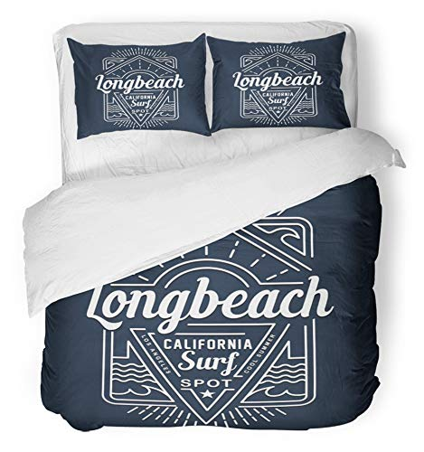 Miami Two Varsity Piece - Emvency 3 Piece Duvet Cover Set Brushed Microfiber Fabric Breathable Blue Badge Surf California Tee Graphics Vintage Beach College Label American Bedding Set with 2 Pillow Covers Full/Queen Size