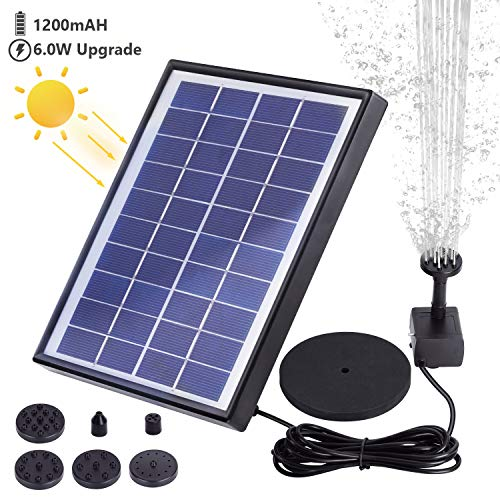 AISITIN 6.0W Solar Fountain Pump, Solar Water Pump Floating Fountain Built-in 1000mAh Battery, with 6 Nozzles, for Bird Bath, Fish Tank, Pond or Garden Decoration Solar Aerator Pump ()