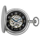 Gotham Men's Silver-Tone Satin Mechanical Skeleton Hunter Pocket Watch # GWC14060SA