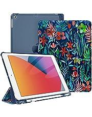 Fintie Hoes voor iPad 10.2 inch 9e Generatie 2021/ 8e Gen. 2020 / 7e Gen. 2019 met Pencil Houder, Ultradun Superlicht Beschermhoes met Transparante Achterkant met Automatische Slaap-waak, Jungle Nacht