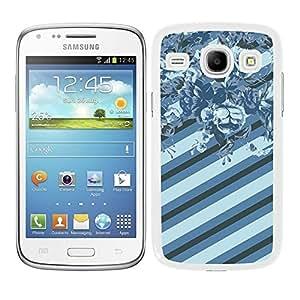 Funda carcasa para Samsung Galaxy Core diseño ilustración estampado flores azul turquesa borde blanco