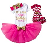 NNJXD Girl Newborn It's My 2nd Birthday 4 Pcs Outfits Romper+Skirt+Headband+Leggings Size (2) 2 Years Rose