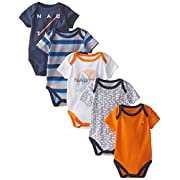 Nautica Baby-Boys Newborn 5 Pack J Class Bodysuit, Assorted, 0-3 Months