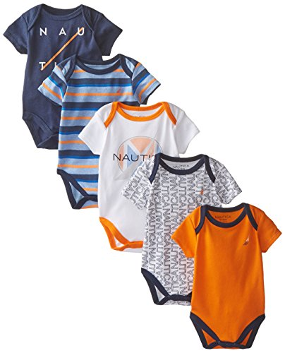 Nautica Baby-Boys Newborn 5 Pack Printed Bodysuit, Assorted, 6-9 Months