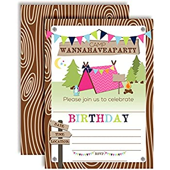Camping Birthday Party Invitations For Girls 20 5x7 Fill In Cards With Twenty White Envelopes By AmandaCreation