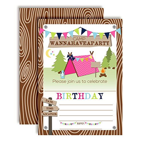 Camping Birthday Party Invitations for Girls, 20 5