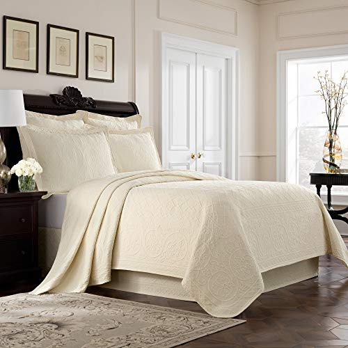 MISC Ivory Matelasse Coverlet Queen Lightweight Embroidered Bedding Off White Textured Floral Scrollwork Trellis Classic Cotton 90x96, 1 ()