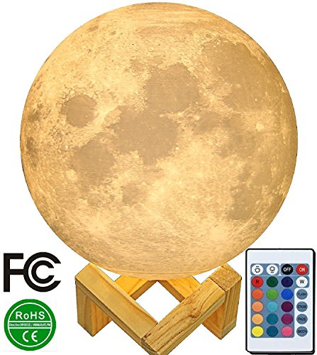 9'' Large Moon Lamp, Genuine Moon Light Lamps ! 3D Printed Moon Lamp with Stand, The 3D Moon Lamp Large with LED 16 Colors, Touch Control and Remote Control.( 22.9CM ) by ZgmdaHOME