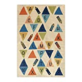 Rubber Backed 3'3'' x 5' Soft Kids Childrens LETTERS Multi Color Playroom Nursery Educational Area Rug