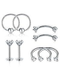 D.Bella Tragus Cartilage Rook Earrings-Nose Rings Hoop Nose Eyebrow Piercing Ring Helix Daith Earrings Surgical Steel Body Piercing Studs Jewelry