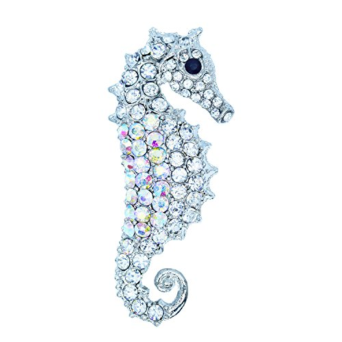 YILANA Vintage Muilti-color Crystal Rhinestone Seahorse Brooch Pin Jewelry for Dress Wedding