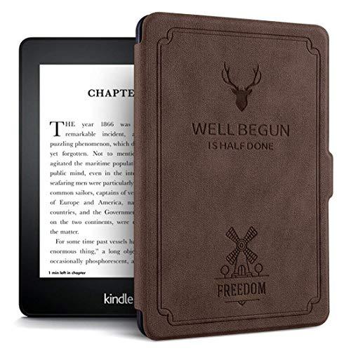 CAZCASE Ultra Slim Smart Deer Pattern Flip Cover for Amazon Kindle E Reader 8th Generation 6 inch Tablet  Brown