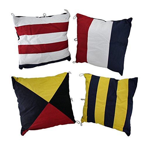 Cotton Throw Pillows Mg-063 Set Of 4 Nautical Signal Flag Decorative Throw Pillows 15 In. 15 X 15 X 6 Inches Multicolored (Nautical Flag Pillows)