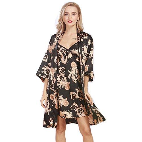 (Daiwenwo Women Robe Gown Set Sleepwear Faux Silk Luxurious Ladies Summer Bath Robe Nightdress 2 Pcs Set Female Pajamas (M,)