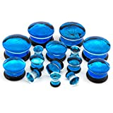 Blue Dichroic Glass Plugs 7/8'' (22mm) - 1 Pair (2 pieces)