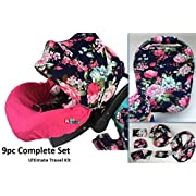 9pc Ultimate Set of Infant Car Seat Cover Canopy Headrest Blanket Hat Nursing Scarf, 25JE05