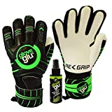 gloveglu RE:GRIP Goalkeeper Goalie Gloves with Removable Finger Protection RE:GRIP Spray – Size 5-11, 3 Styles/Cuts (Hybrid, Negative, Rollfinger) – 30 DAY 100% WARRANTY