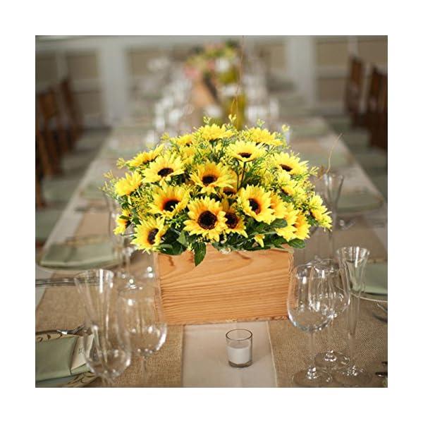 NAHUAA 4PCS Artificial Sunflowers Bundles Fake Silk Flowers Bouquets Fuax Floral Table Centerpieces Arrangements Decor Wedding Home Kitchen Office Windowsill Spring Decorations