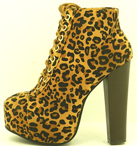 Nuove Donne Lace Up Bootie Tacco Alto Piattaforma Partito Scarpe Eleganti Stivali Leopardo